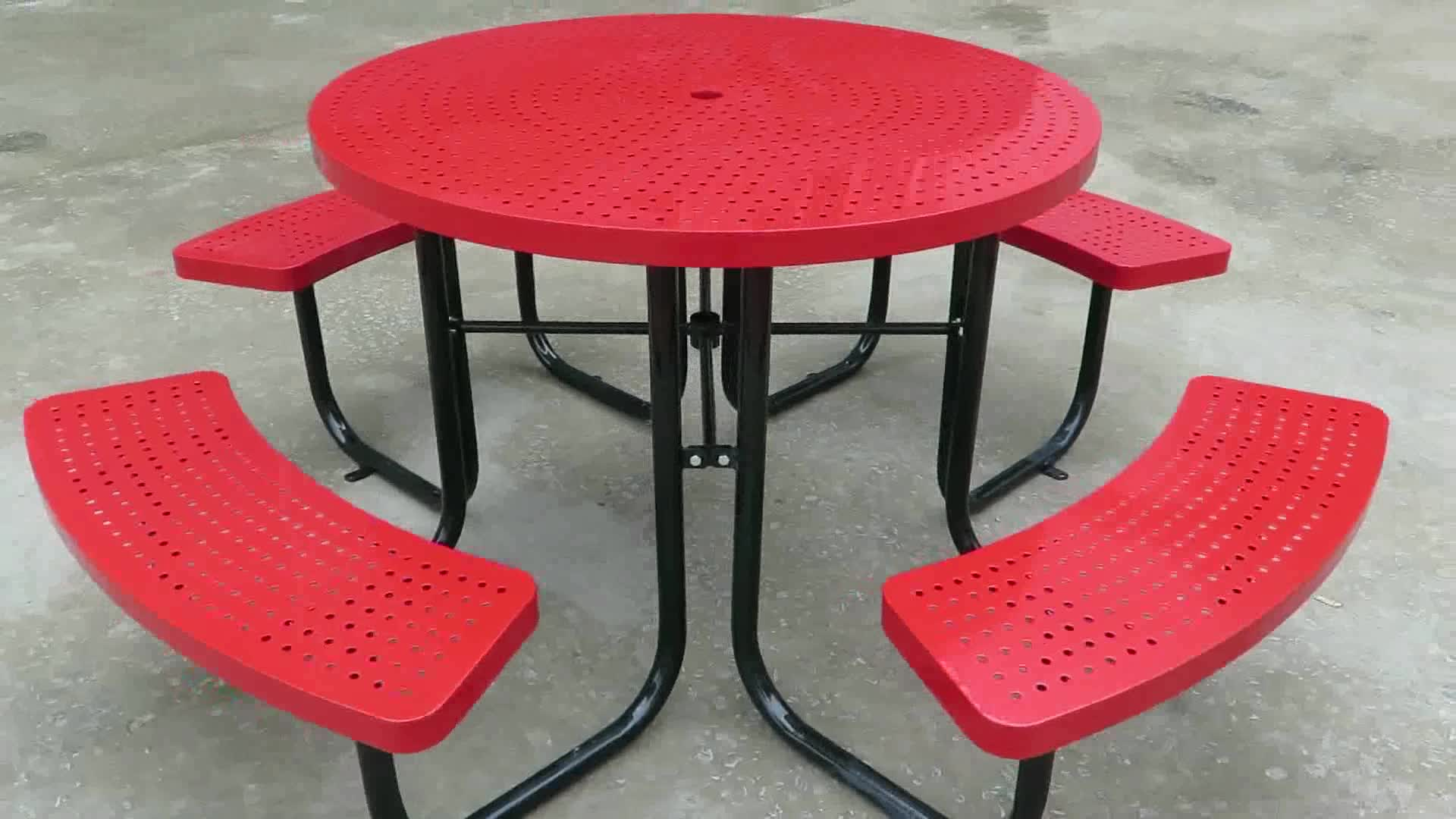 City furniture manufacturer , Round Garden picnic table benches, patio picnic table chair set