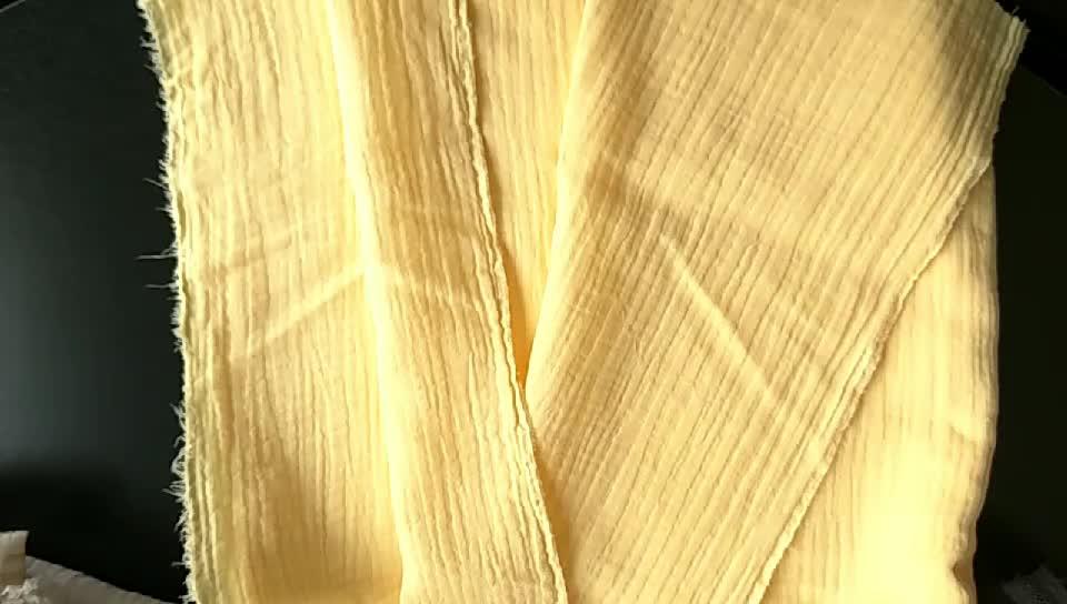 ของแข็งย่นผ้าฝ้าย100% ตาข่ายคู่ผ้ามัสลินสำหรับทารก