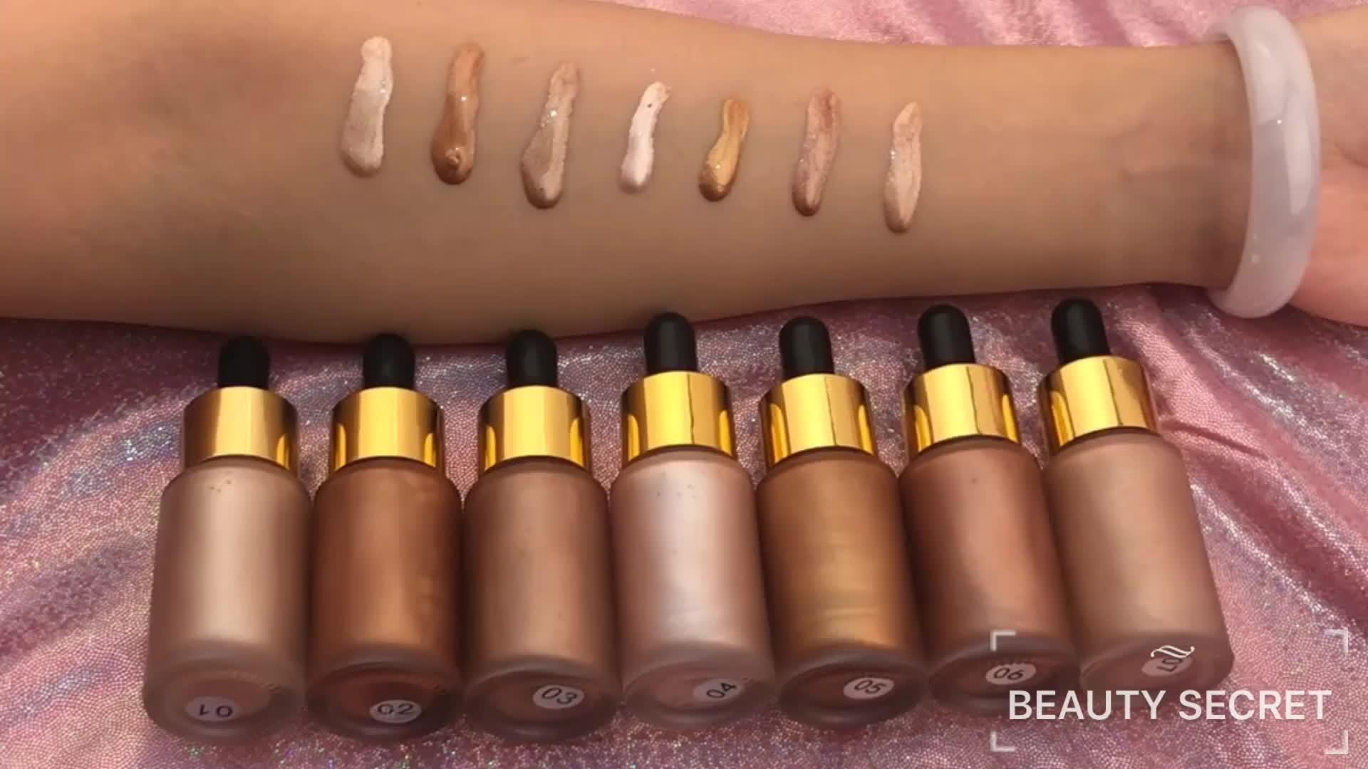 OEM Label Pribadi Tersedia 20 Ml Berkilau Stabilo Kosmetik Stabilo Riasan 7 Warna Cair Sorot dengan Tabung Emas