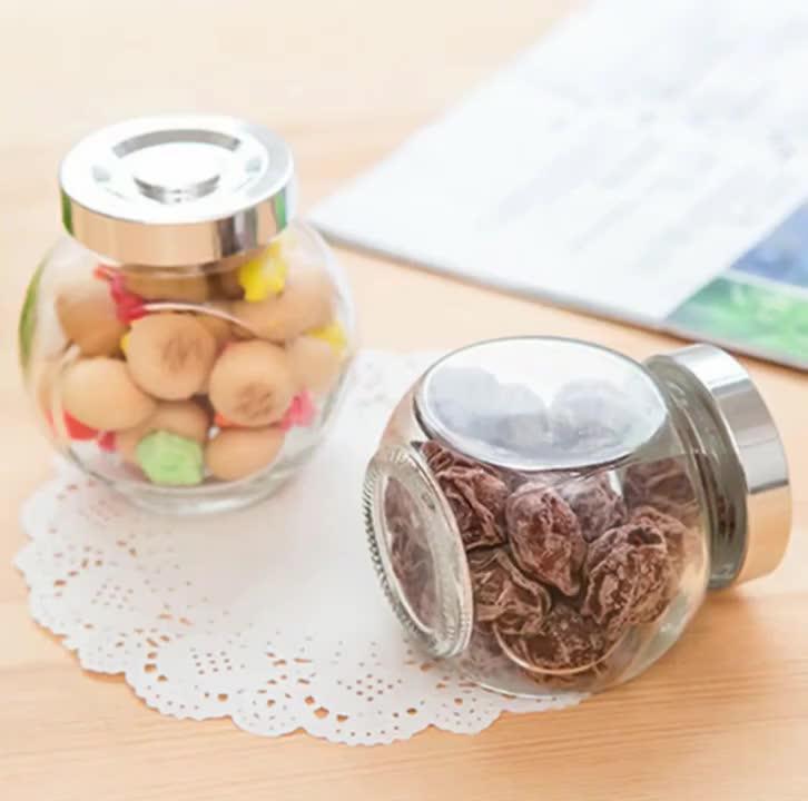 100 Ml-800 Ml Lurus Sisi Bulat Jelas Kaca Honey Food Jam Jar dengan Wit Off Lug Logam Emas tutup