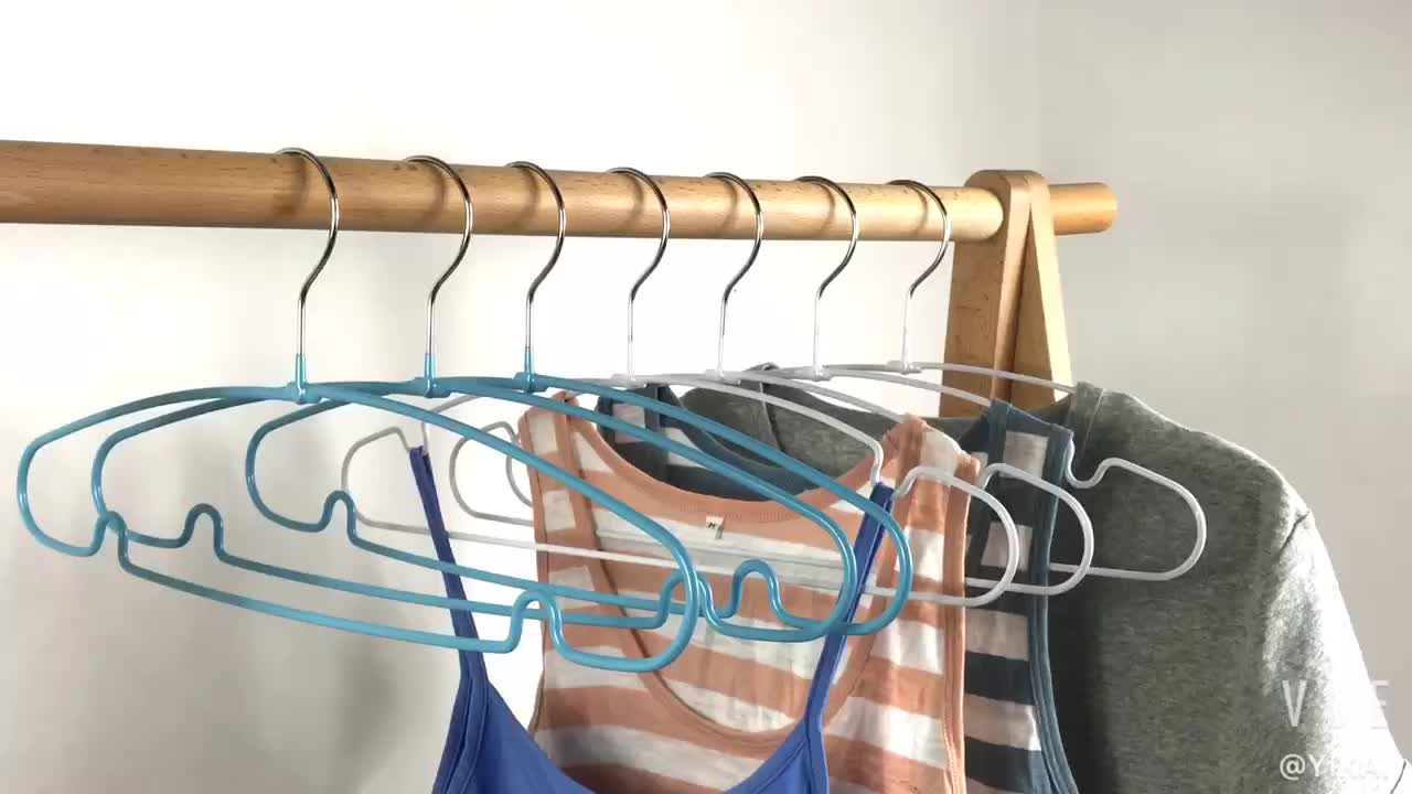 Factory Low Price Supply Simple Shirt Hanger PVC Metal Laundry Hangers