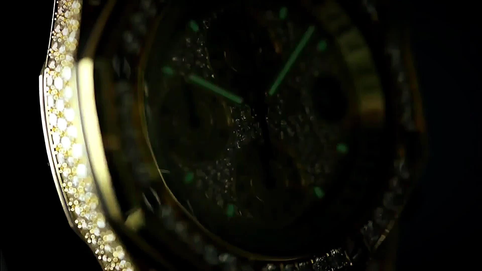 Hot sell Hiphop fashion watch quartz watch gold stainless steel diamond watch mens bracelet men wristwatches