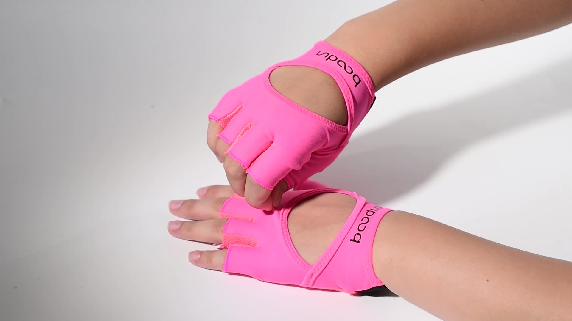 Amazon hot koop fashion half vinger vrouwen gym yoga handschoenen