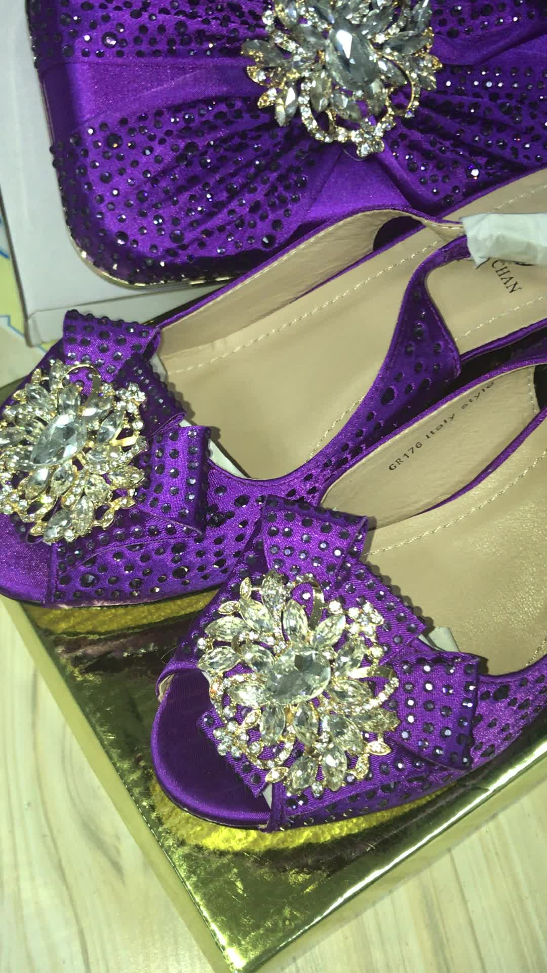ZR1819 Guangzhou Pasar Tas/Italia Sepatu Yang Sesuai dengan Tas Wanita Heels-Sepatu