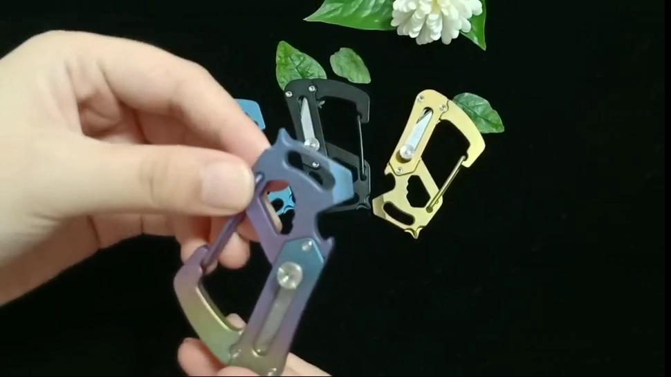 등산 다채로운 티타늄 Carabiner 오프너 티타늄 EDC 포켓 도구