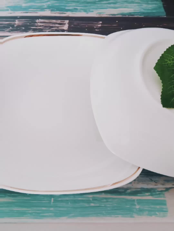 中国の磁器セラミック食器、金色装飾正方形プレート、ディナーセット磁器セラミックス