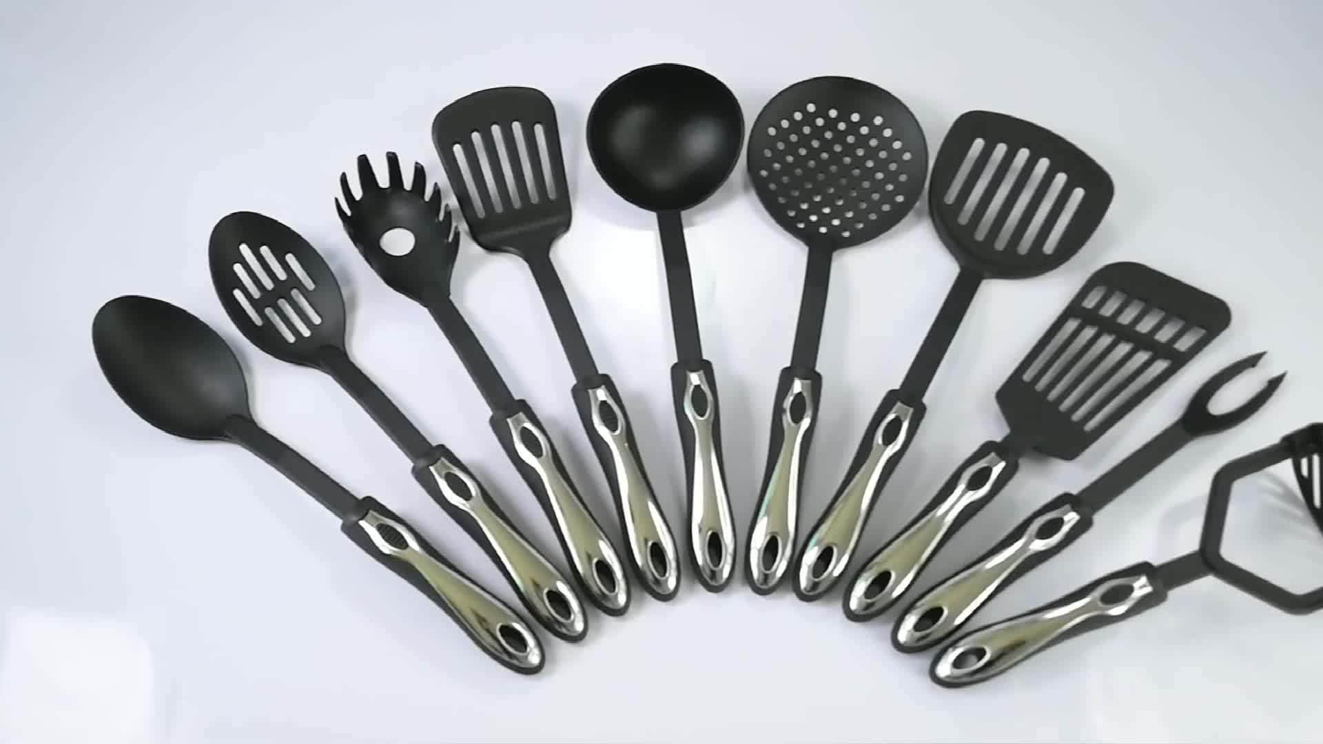 18-Piece Premium pişirme kapları Paslanmaz Çelik Ve Naylon mutfak seti Yeni