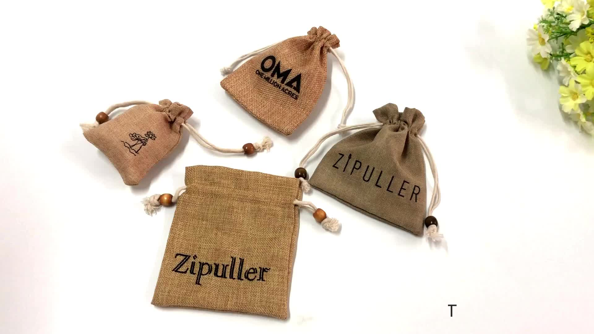 Gift Bag 10X8cm Jute Hessian Packing Storage Linen Burlap Jewelry Pouches Burlap Bags with Drawstring