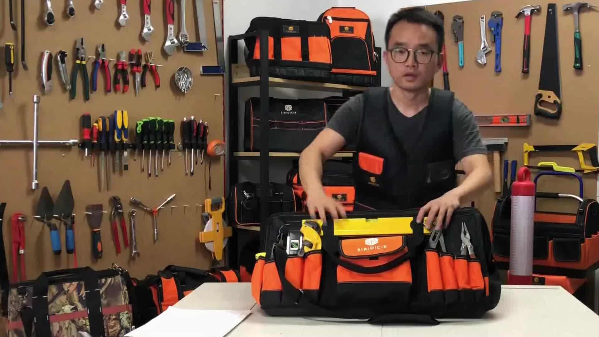 hard plastic bottom tool bag Electrician Polyester Tool  Bag  with Hand Shoulder