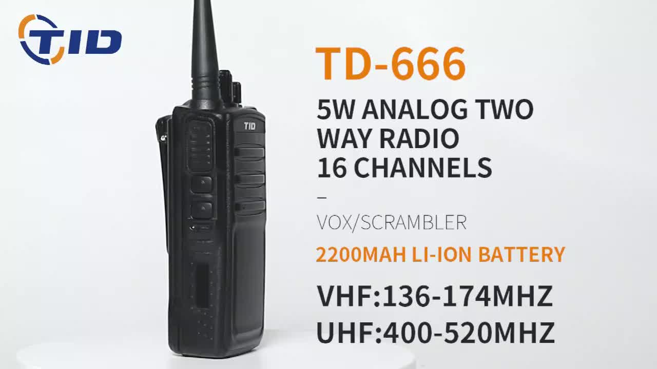 TD-666 Walkie Talkie 1-5km Long Talk Range Professional Two Way Radio With 2000mah Battery