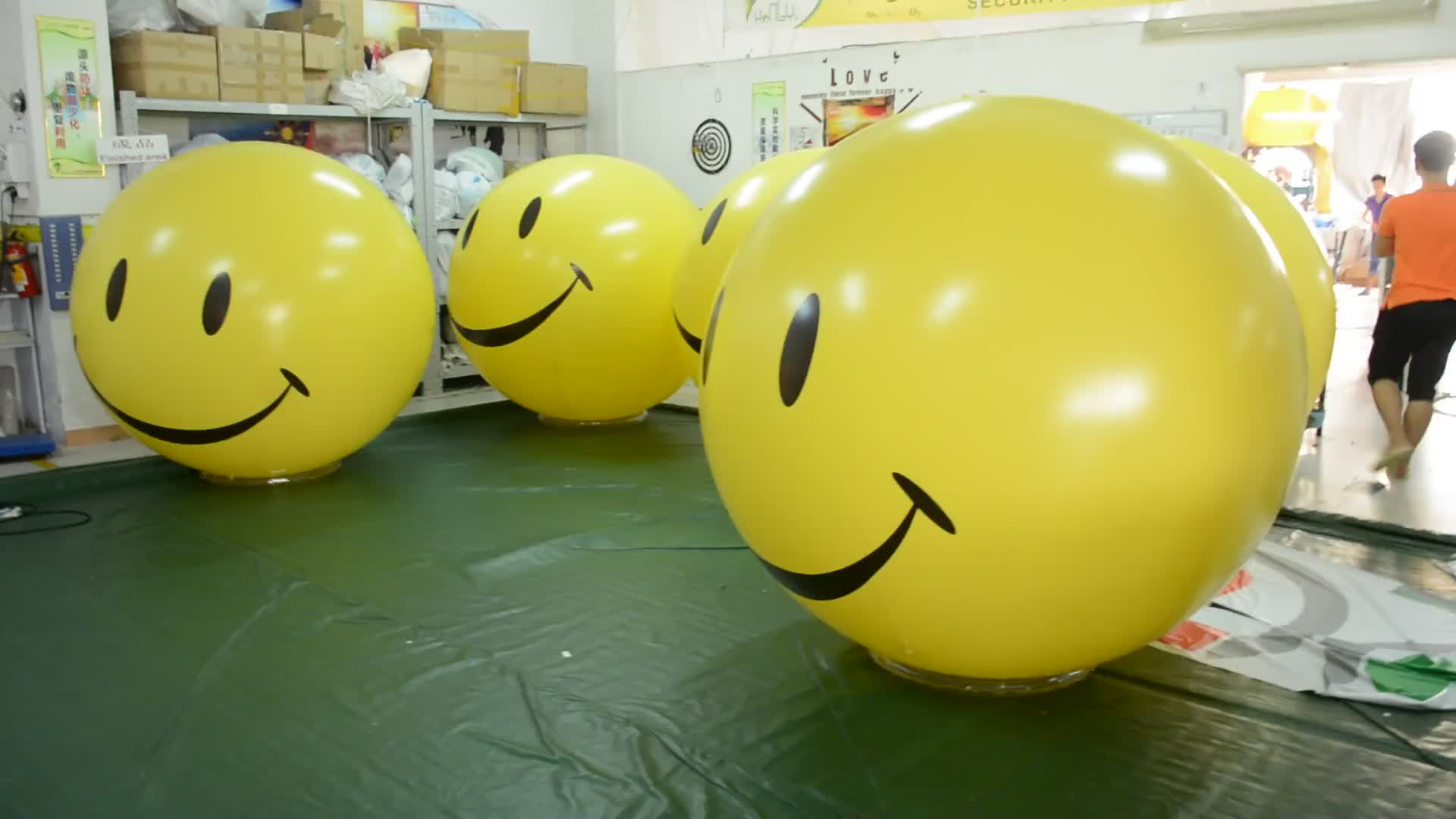 Advertising Yellow Inflatable Smile Face Helium Balloon For Sale