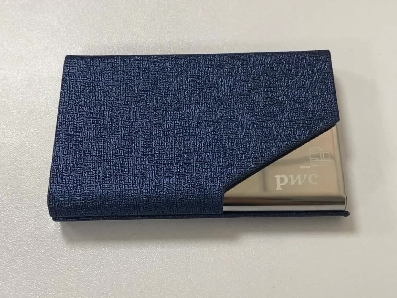 Custom Logo Metal 가죽 Engraving id Name Card Business Card Holder Case 대 한 Promotion