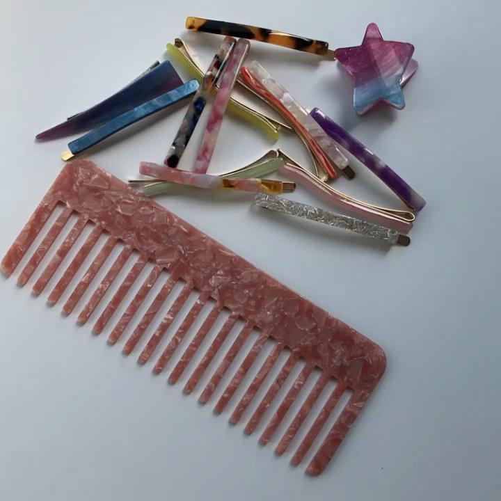 2019 New Design Factory Wholesale Fashion cellulose acetate clipper hair comb