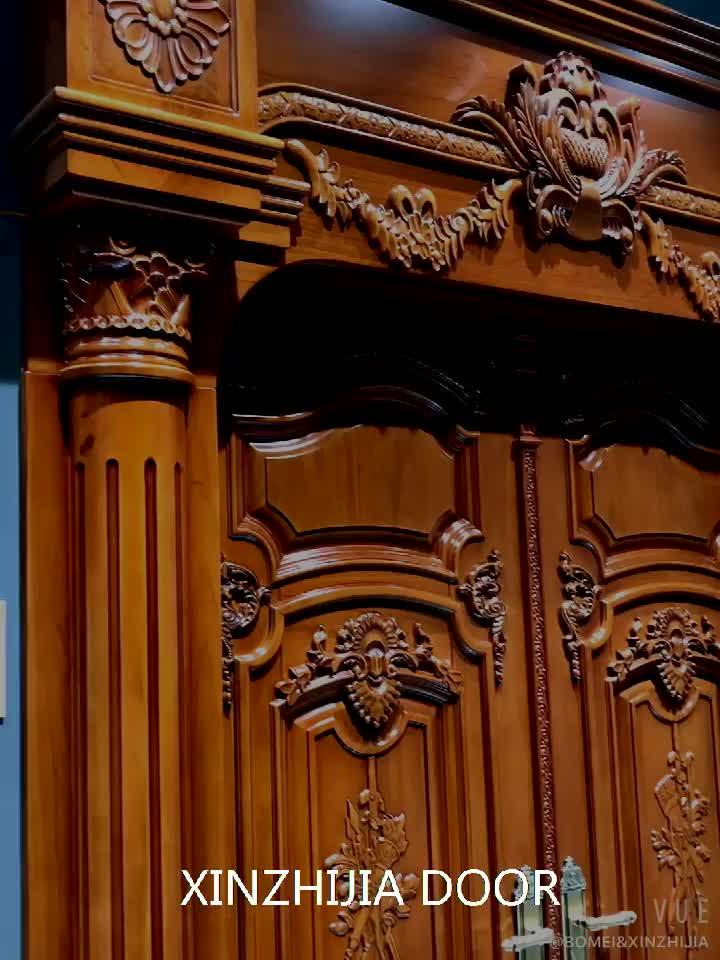 Luxury exterior teak wood designs solid wooden front door
