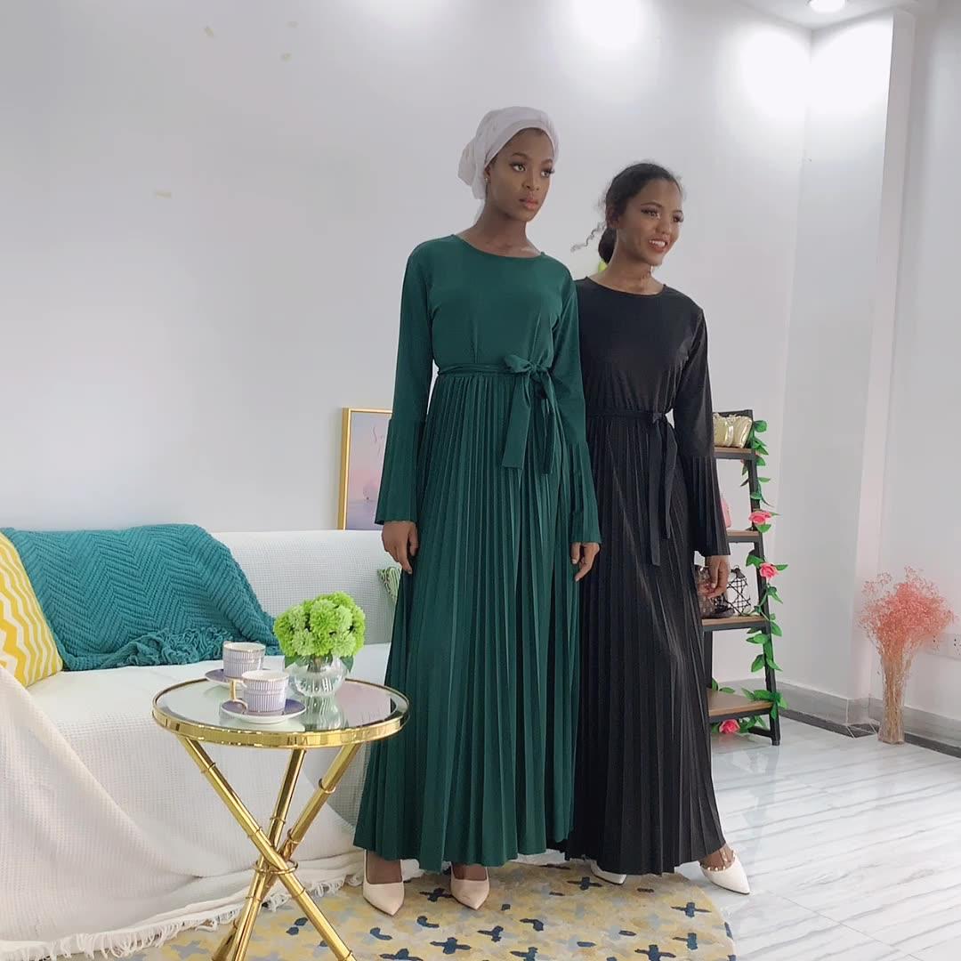 2020 Latest new pleated abaya muslim dress kaftan dubai turkish dresses islamic clothing
