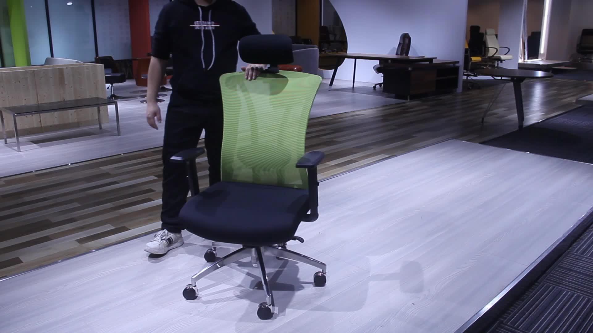 606-2B modern green conference room chairs+ergonomic office chair with neck support