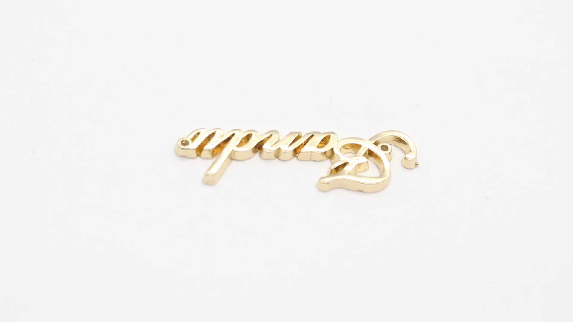 OEM high quality letters gold color metal label and tag for handbag
