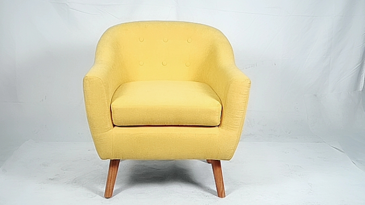 Yellow Fabric Tufted button back  Barrel armhair with wooden legs for living room