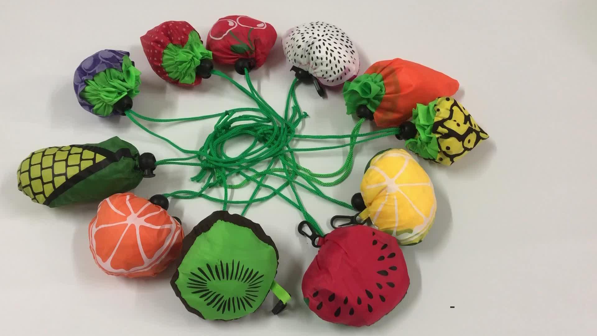Morecredit Sevimli Kivi Meyve Kullanımlık Bakkal Torbaları Katlanabilir Hafif Güçlü Yük Alışveriş Çantaları