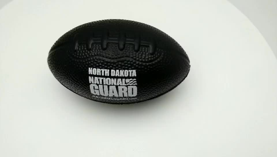 Wholesale Black Pu American Football Toy Rugby Stress Toy  Pu Foam Rugby Stress Ball For Promotion