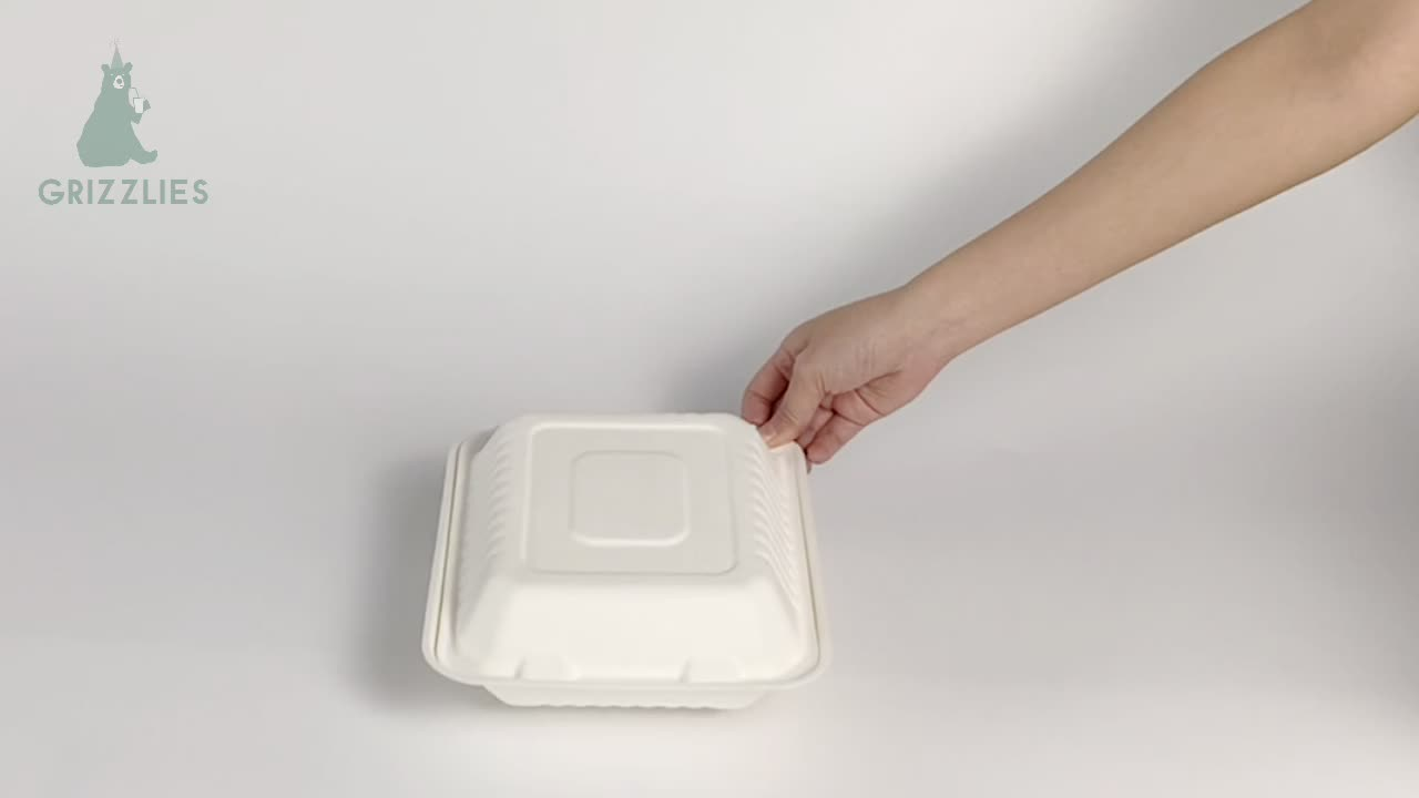 To Go Food Packaging Disposable Natural Sugarcane Bagasse Clamshell Box