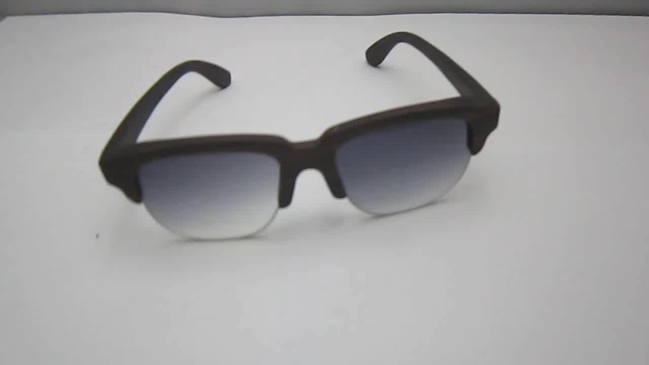 In Stock Half Frame Real Ebony Wooden Sunglasses