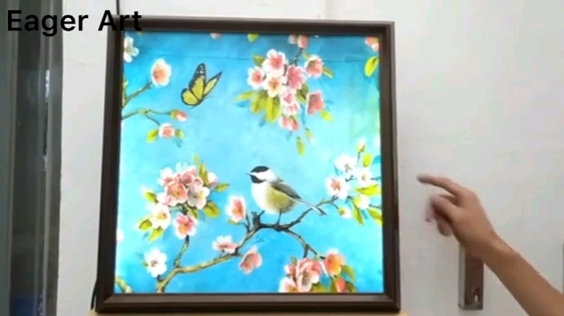 Oil Painting Dafen Decoration Modern UV Printing HD Wall Art LED Light Yes Frame Decoration Abstract Printing