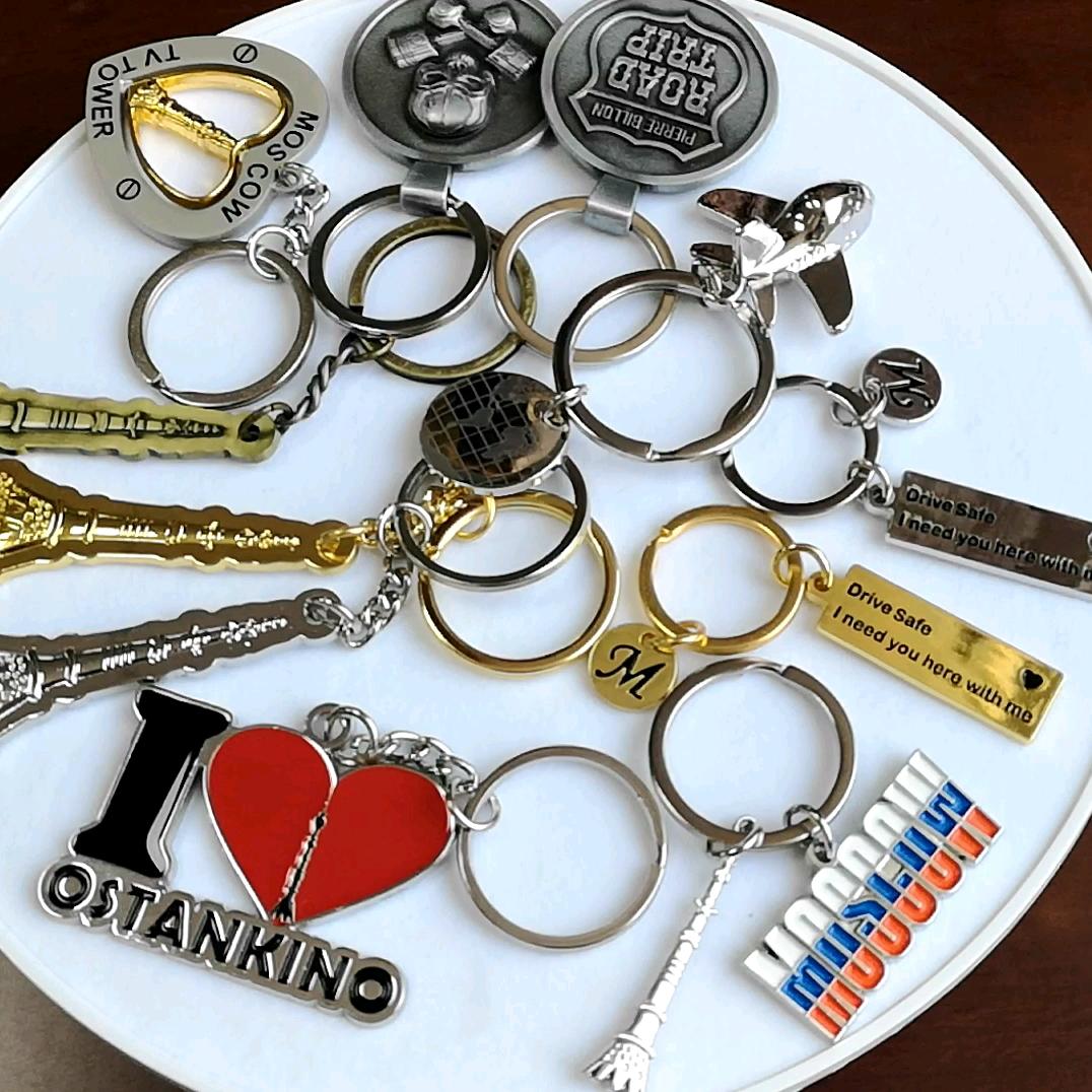 Aangepaste promotionele emaille bedrijf logo metalen sleutelhanger tag