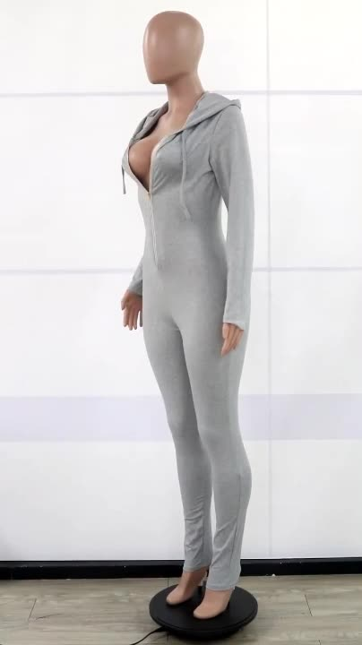 2020 New Arrival Hoodie Rompers with Front Zip Women One Piece Long Jumpsuits