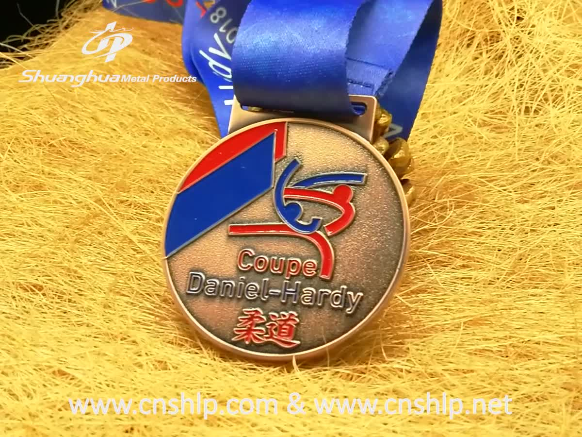 Custom cheap square Judo gold metal enamel award medals with ribbon