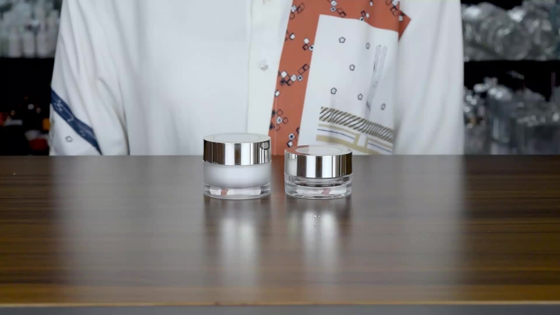 luxury cosmetic packaging 10g skin care cream round acrylic jar with aluminum silver lid