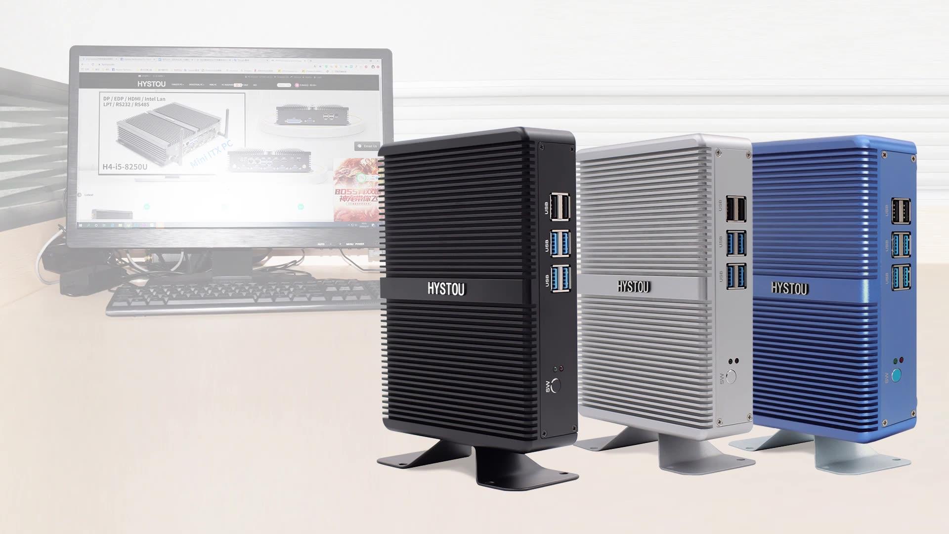 La oficina utilizando mini PC sin ventilador H2 intel i3 7167 CPU DDR4 RAM hardware HD VGA WIFI y computadoras portátiles Y escritorios