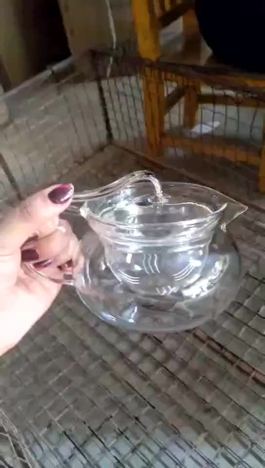 Factory Direct Sale High Quality 450ml Small Handmade Heat Resistant Borosilicate Glass Teapot With Glass Strainer