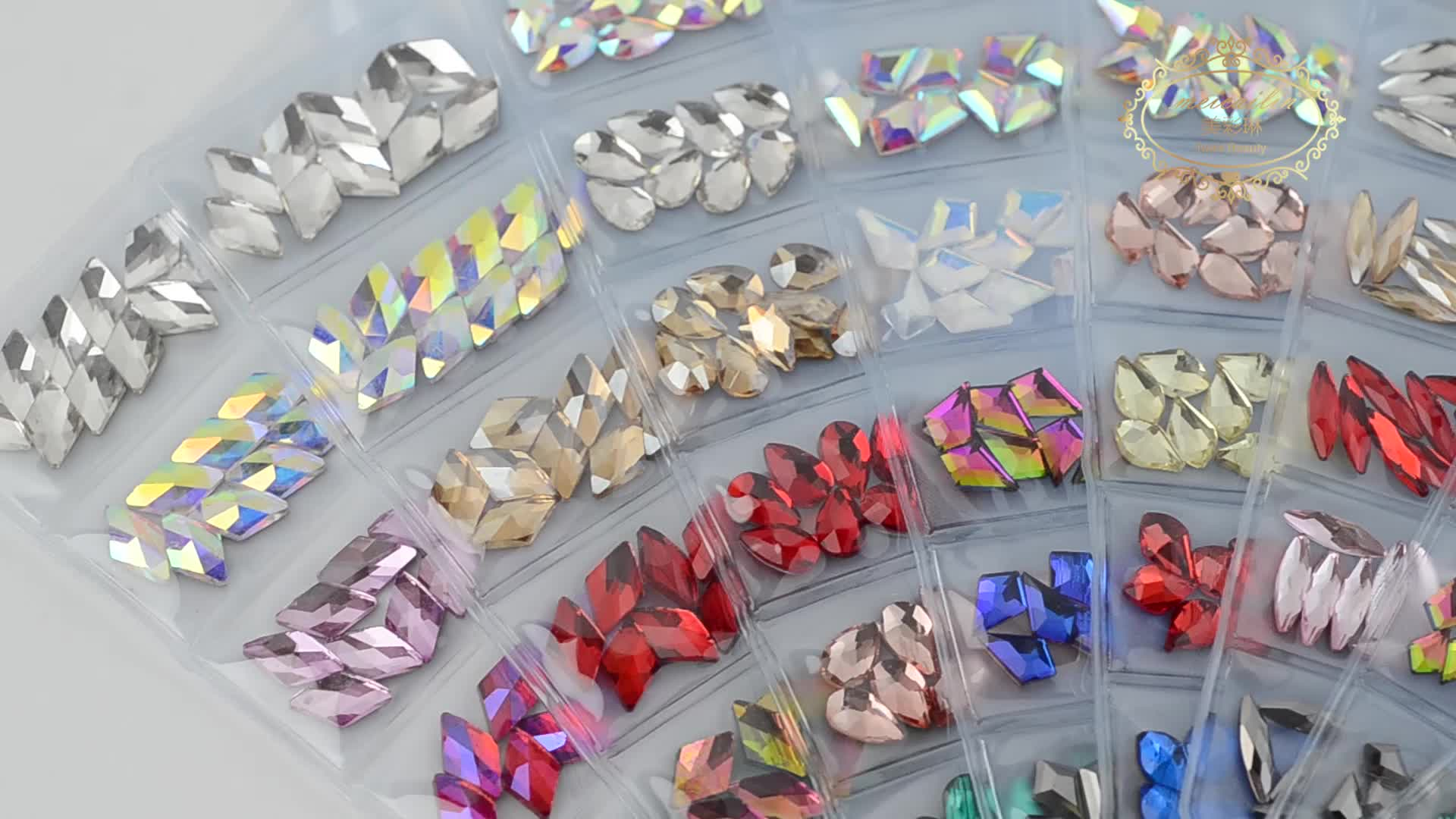 11 new designs K9 flatback crystal stone & 6 Grid/Pack Mixed colors   for nail art decoration