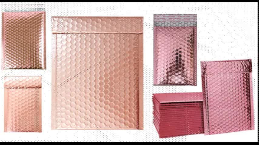 Metallic pink padded envelope 000 poly bubble mailer aluminium foil rose gold poly mailers 6 x 9 -bubble