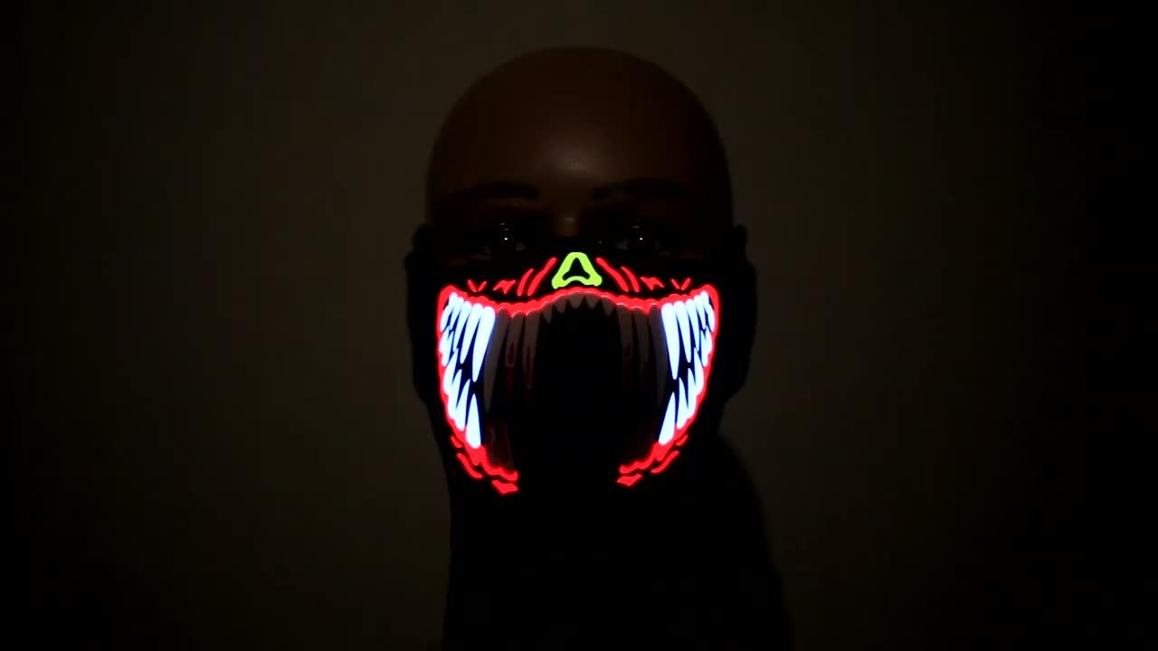 2020 Hot Sale Party Supplies el Rave Sound active led panel Mask for DJ club event Festival