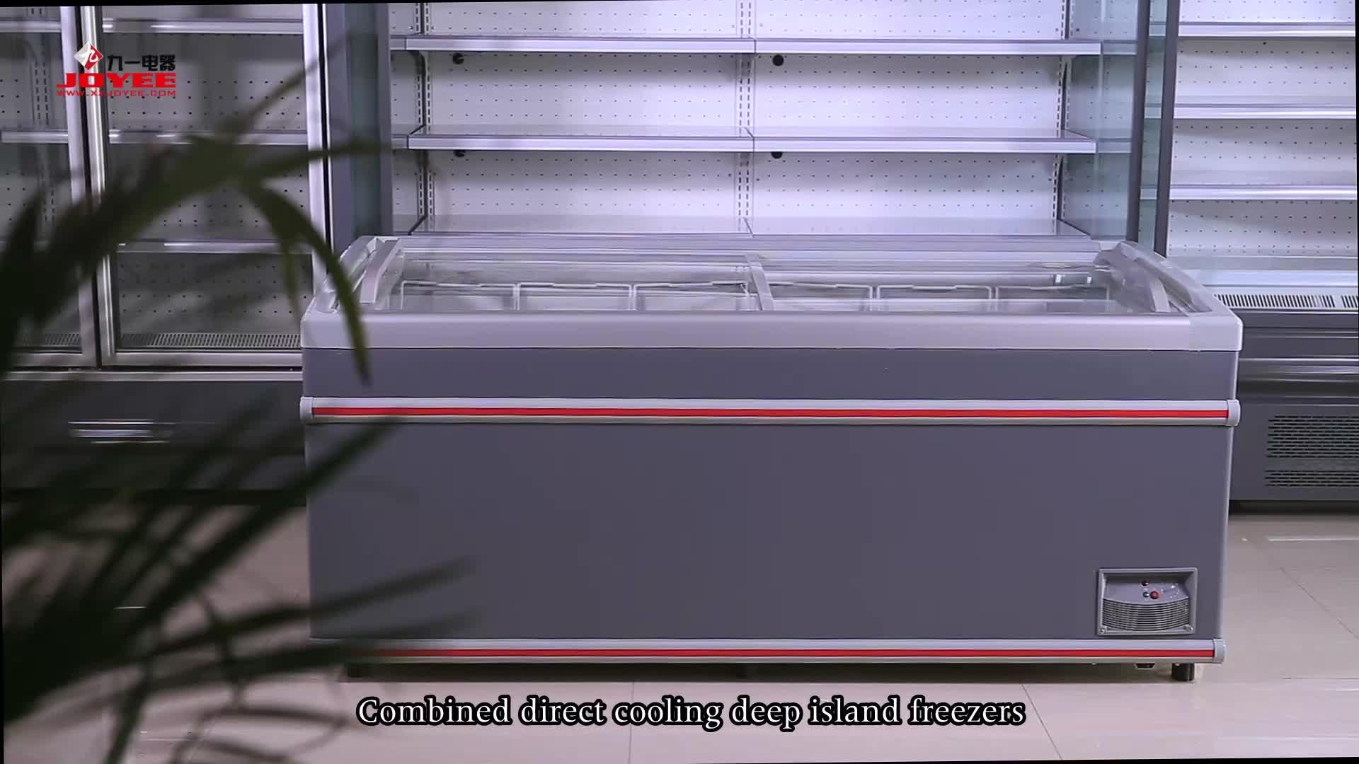 Comercial empujar y tirar de la puerta de vidrio abierto isla congelador gabinete para alimentos congelados