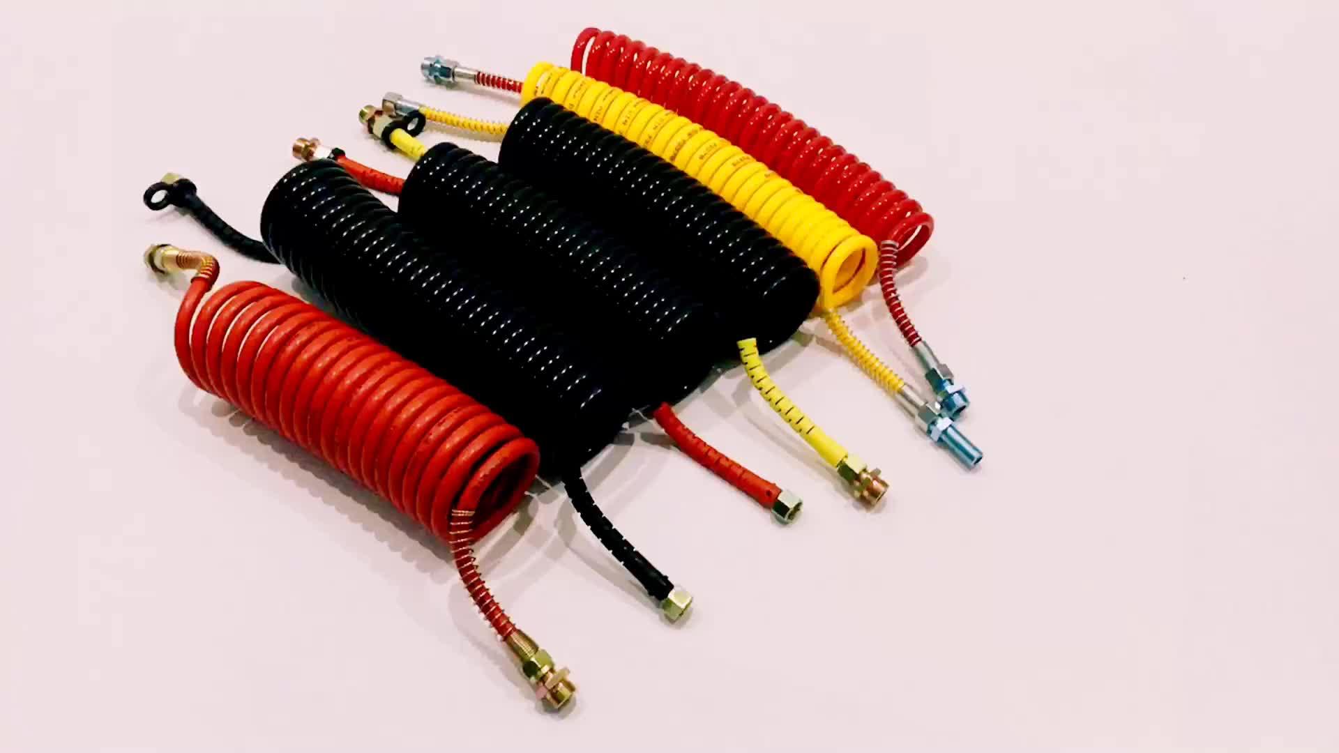 PA12 kırmızı plastik Hortumlar pnömatik hortum bahar ceket hava hortumları ve fren susie rulo NOKTA hava bobinleri