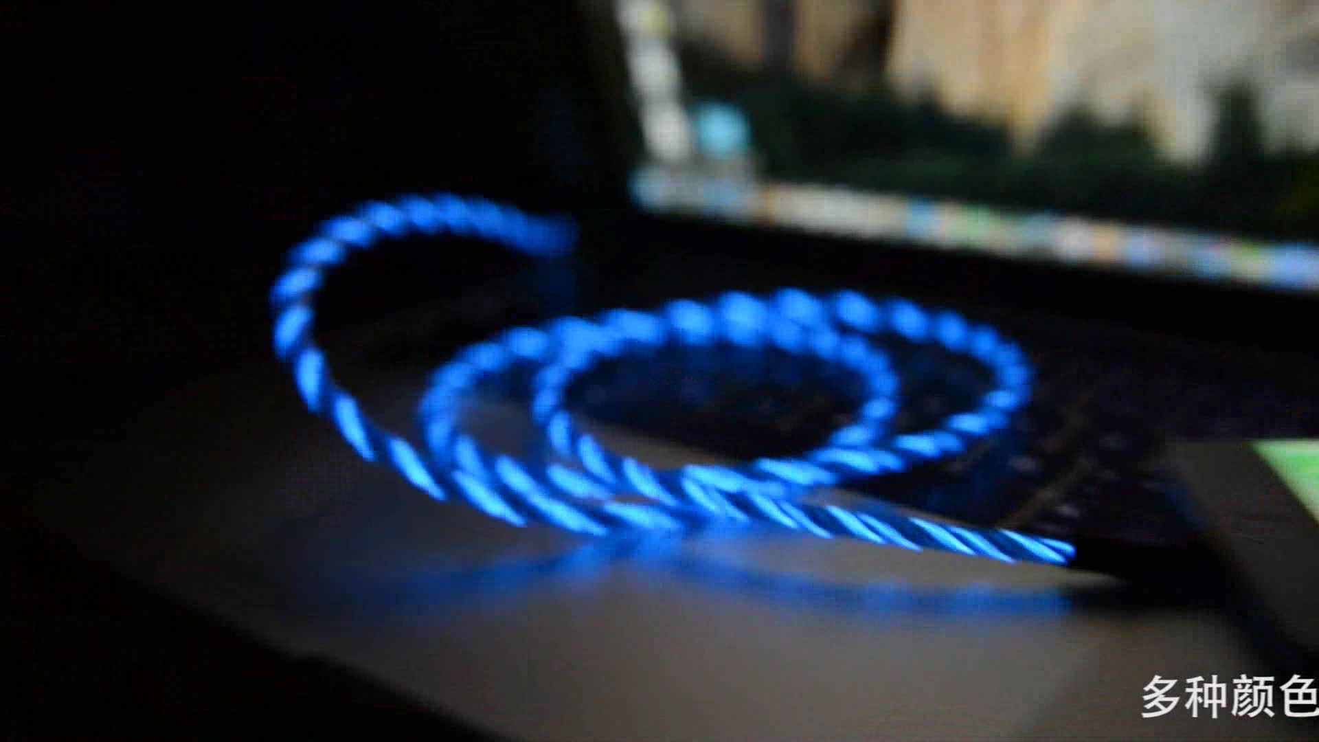 2 in 1 fast charging cable led light pvc usb for mfi certified lightnings cable made in China