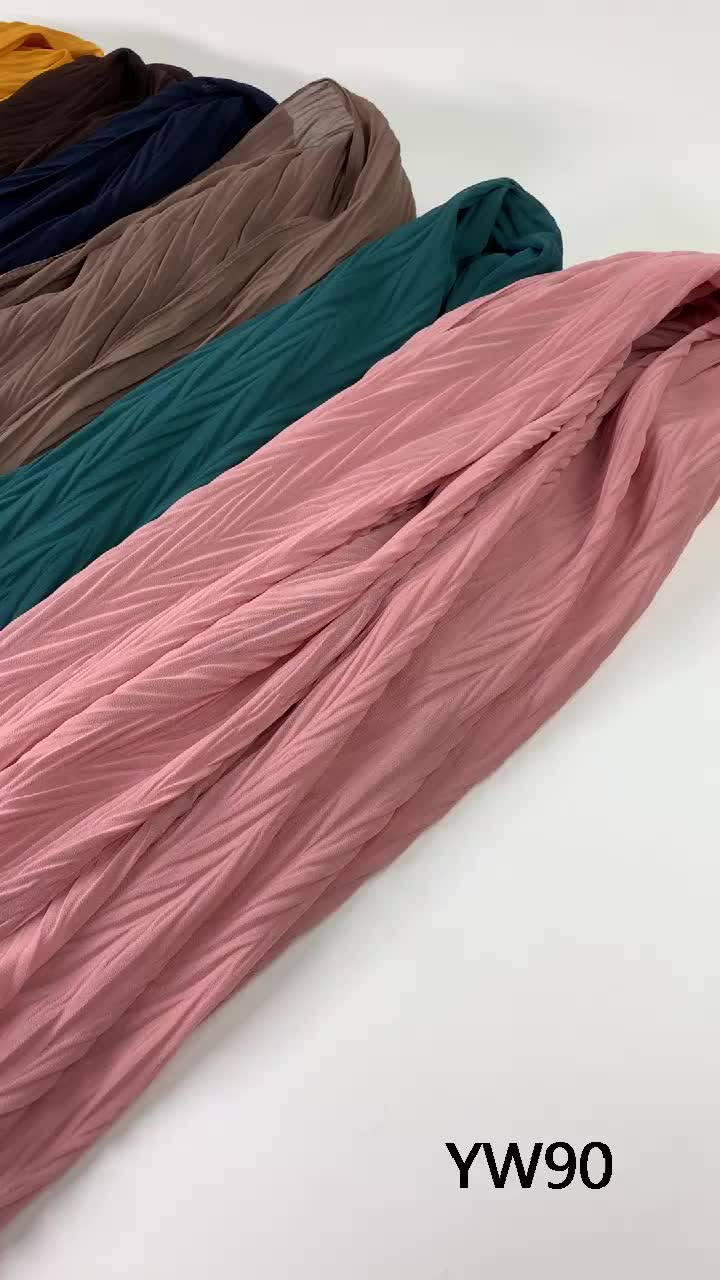 Fashion muslim scarves wrap plain pleated bubble chiffon hijab crinkle scarf