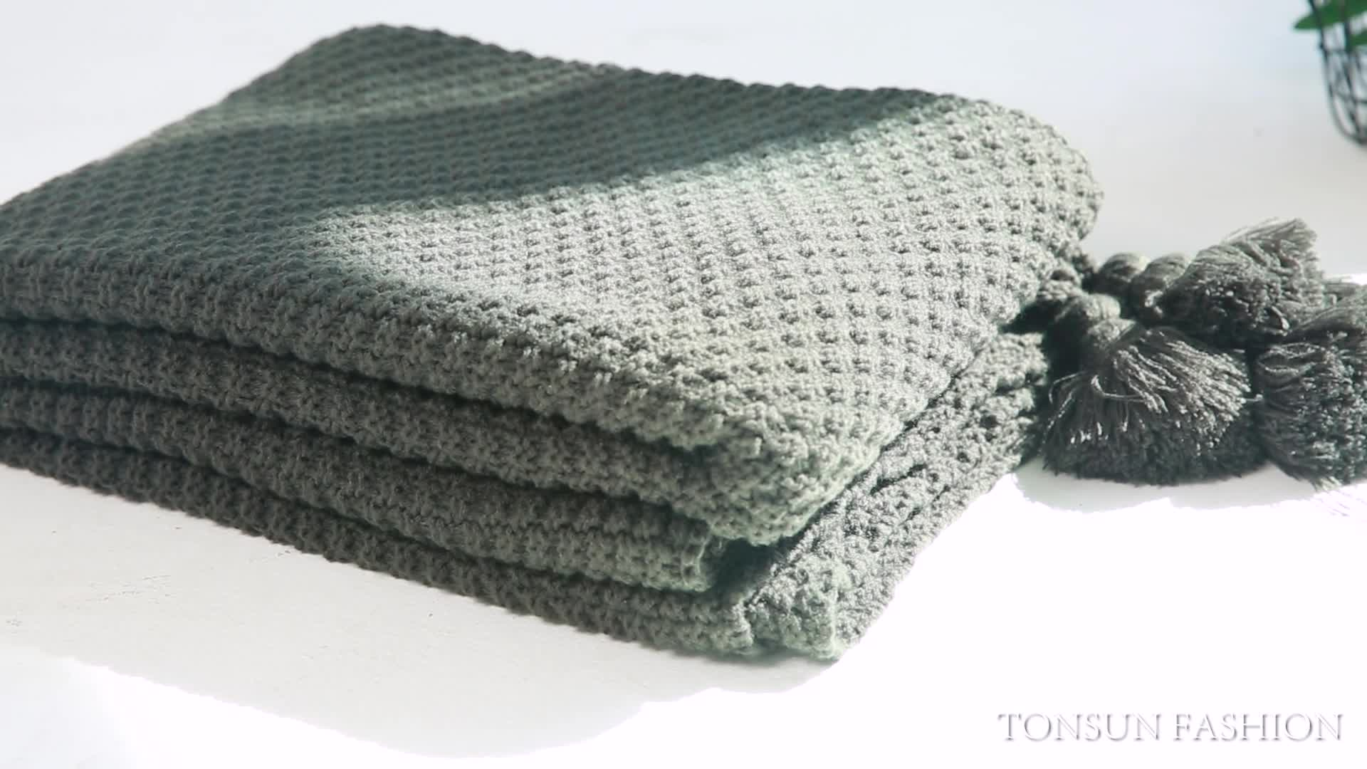 Groothandel Winter Wol chunky katoen gehaakte knit gooi deken