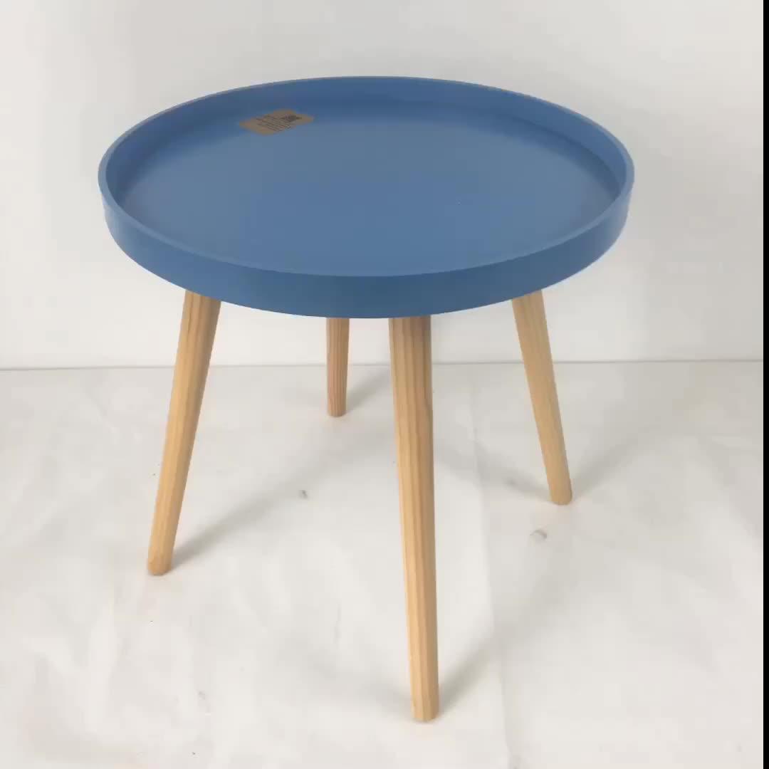 17YC023 तीन पैर लकड़ी दौर टेबल शौचालय साइड टेबल पशु कॉफी टेबल
