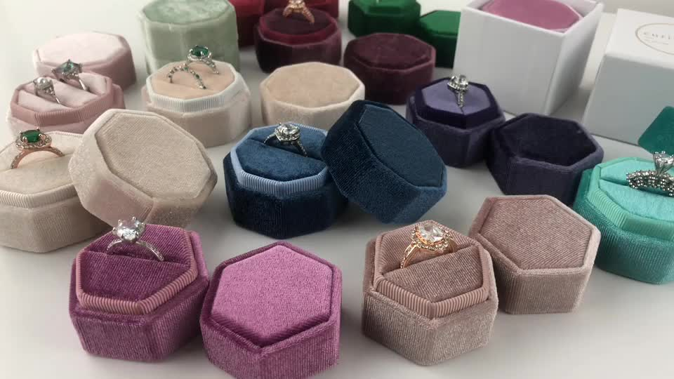 Popular hexagon style Pearl velvet ring gift box with logo for wedding