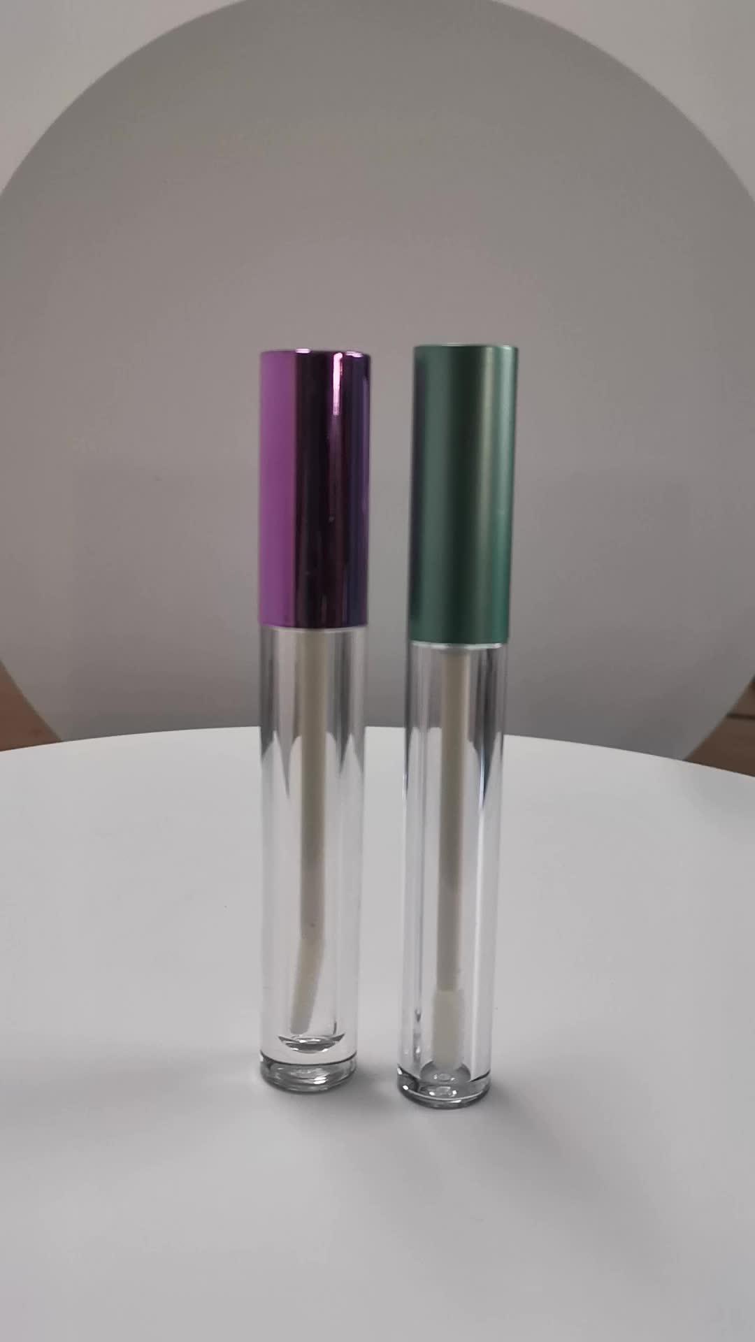 17*119mm ריק כמנהג גלוס צינור עם מברשת נוזל שפתון מיכל אריזה עם UV כובע