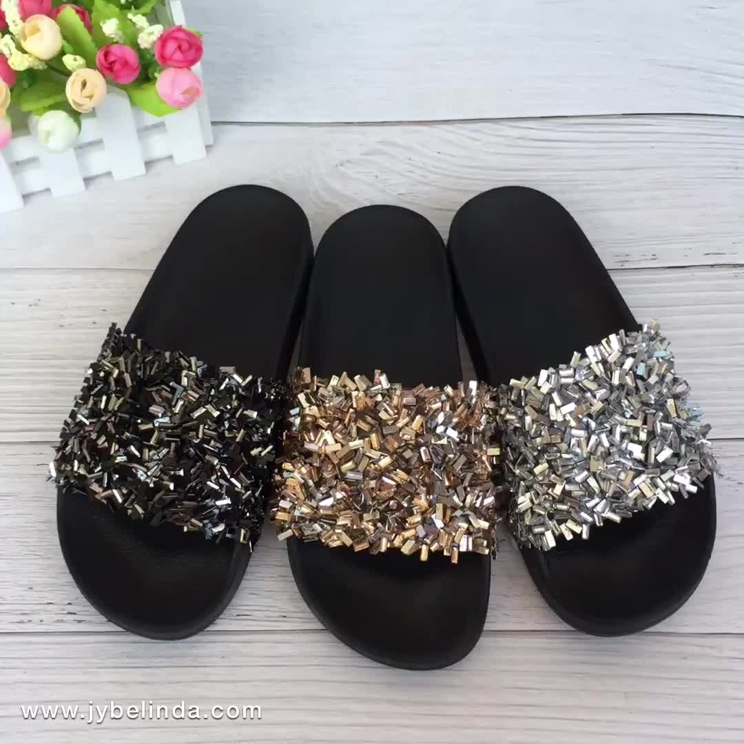 2020 Woman Flat Slipper Latest Design Black Slide Rhinestone Lady Shoes