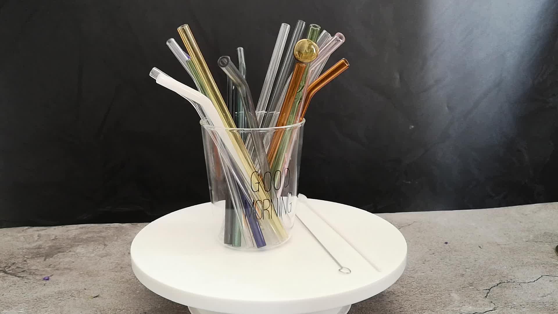 2019 venta al por mayor coloridos Pyrex borosilicato Eco amigable reutilizables vidrio pajas de beber