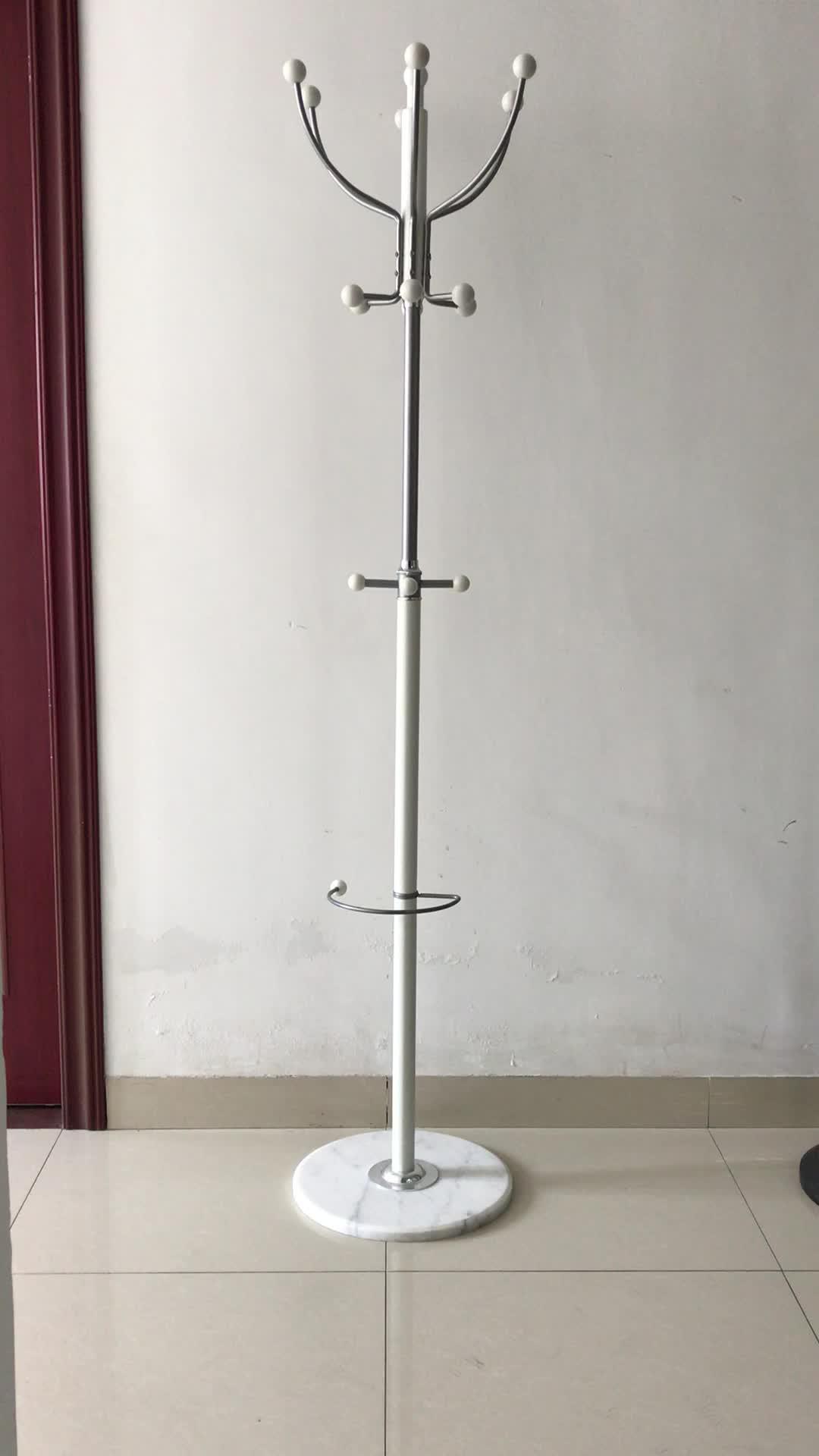 Su misura Multi-funzione Singola Pole Battuto camera da letto Vestiti Gancio di ferro Del Basamento di Marmo Antico In Acciaio di Base Coat Hanger rack