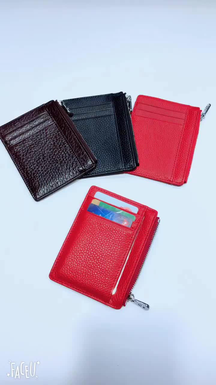 Fashion 100% Real Cow Leather Cheap Personalized Women/Men Business/ID Credit Card Holder with Zipper