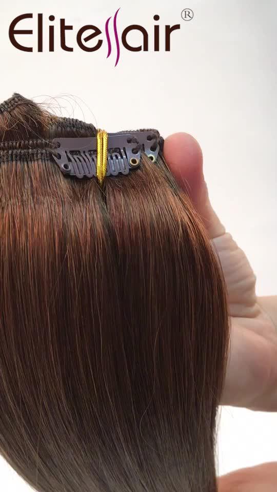 Elite 100 Procent Indische Menselijk Haar Volledige Cuticula Virgin Straight Clip In Hair Extensions