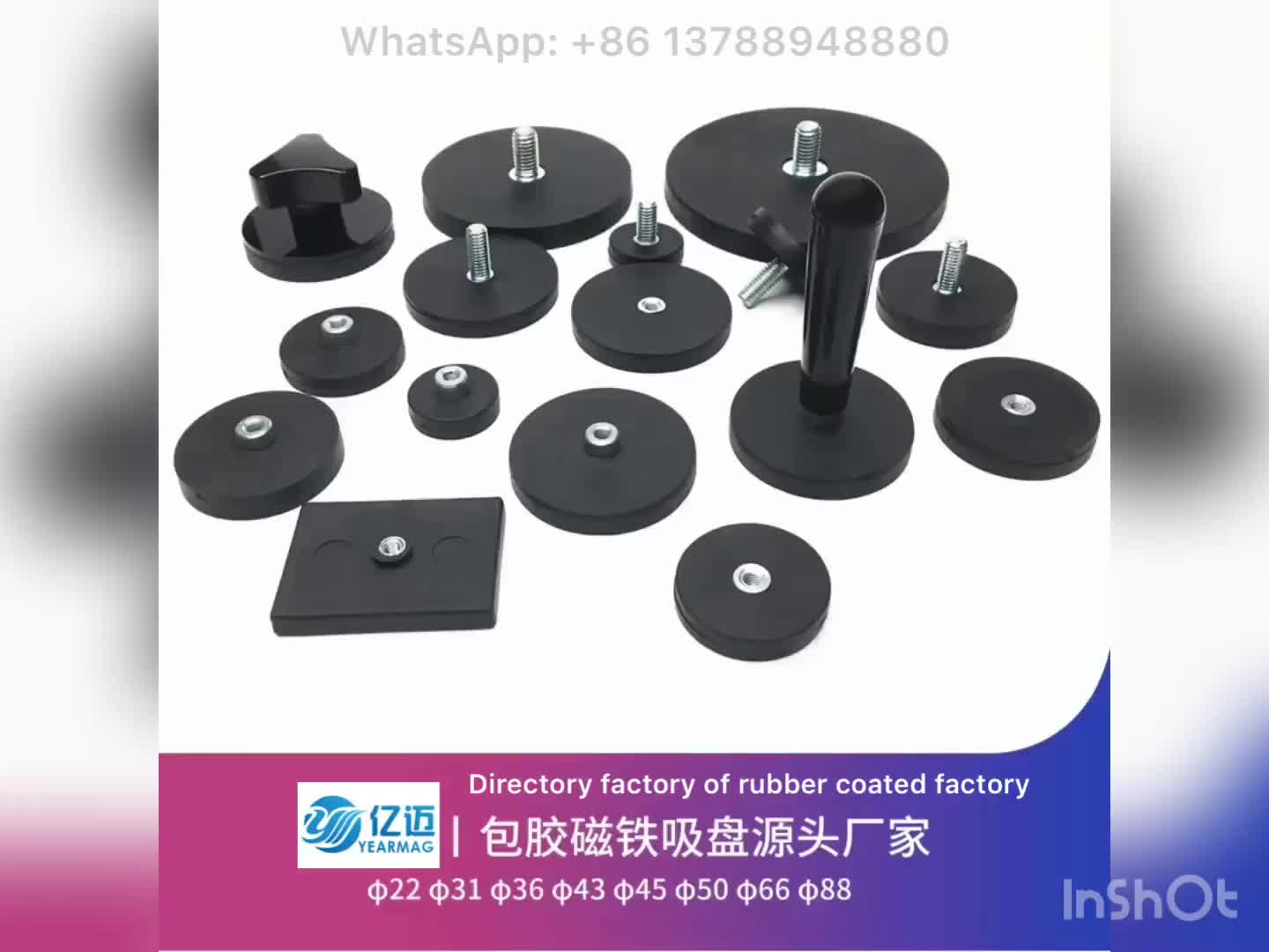 Direct Factory Cheap Price Wholesale Neodymium Magnetic Holder D88mm Rubber Coated Pot Magnets with Screw Threaded M5 M6 M8 M10
